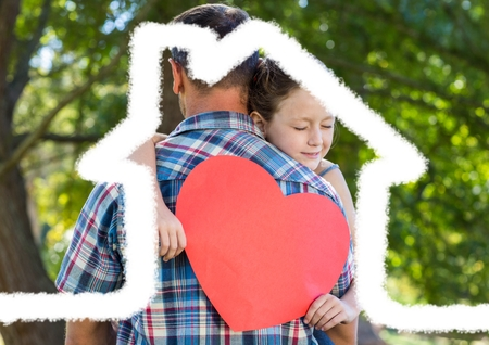 Father carrying girl holding heart shape overlaid with house shape