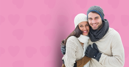 fondness: Digital composite of loving couple on graphic background Stock Photo