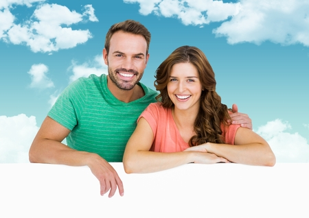 mid adult men: Digital composite of loving couple on graphic background Stock Photo