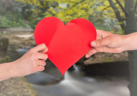 Close-up of hands of couple holding red heart against natural background
