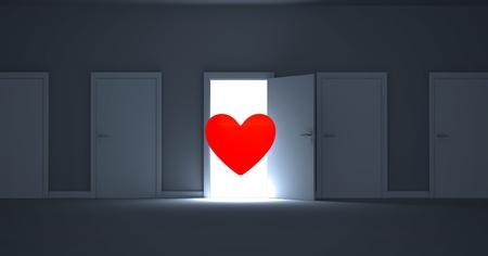 digitally generated image: Digitally generated image of open door with red heart shape