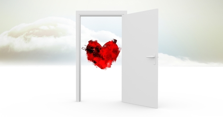 Digitally generated image of open door to sky with red heart shape