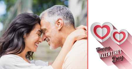 Composite image of mature couple romancing and valentine text