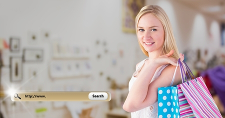 Digital composite image of smiling woman holding shopping bags and search bar