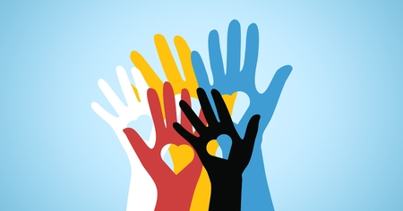 Conceptual image of multicolored volunteers hands with heart shaped Stock Photo