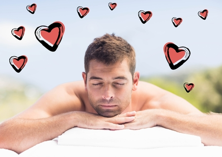 beaming: Composite images of man relaxing in spa with heart shapes