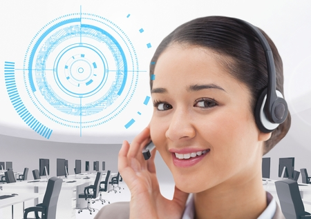 Composite image of call center executive with office and interface