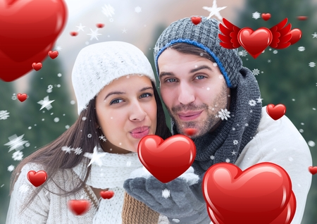 flying kiss: Composite image of romantic couple giving a flying kiss