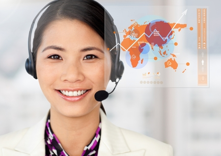computer operator: Portrait of customer service  executive against digital interface at office Stock Photo