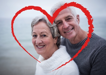 Composite image of senior couple embracing each other