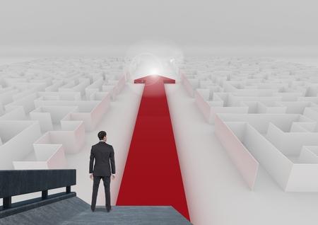 pass away: Digital composite of businessman looking at maze
