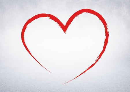 Close-up of red heart against white background