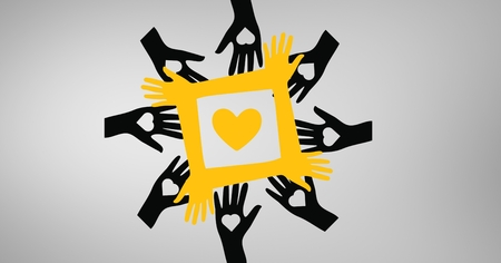 eye close up: Digital composite image of hands surrounding yellow heart against grey background