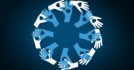 digitally generated image: Close-up of digitally generated image of hands forming a circle Stock Photo