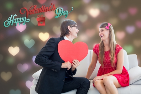 together with long tie: Digitally generated image of text and romantic man holding pink heart and proposing girl