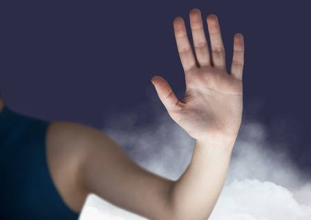 touch sensitive: Mid section of woman gesturing against digitally generated background Stock Photo