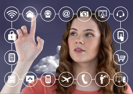 smart phone woman: Woman touching smart phone application icons against digitally generated background