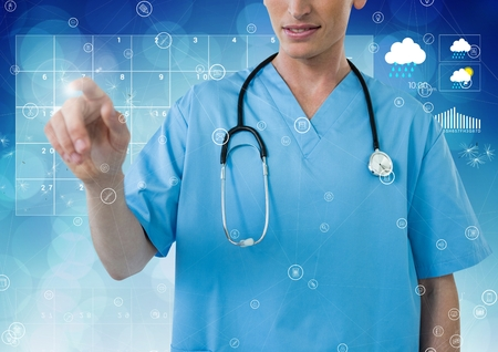 touch screen: Composite of female doctor using futuristic touch screen Stock Photo