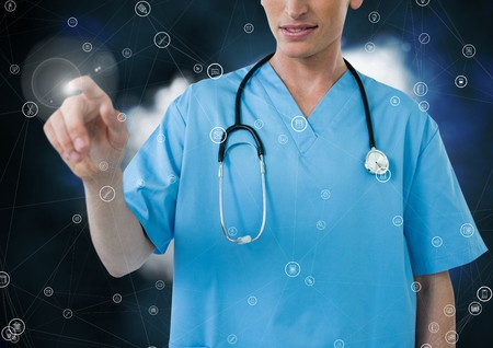 Digital composite of doctor using connecting icon interface against clouds Stock Photo