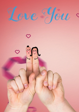 digitally generated image: Digitally generated image of happy finger face couple in love