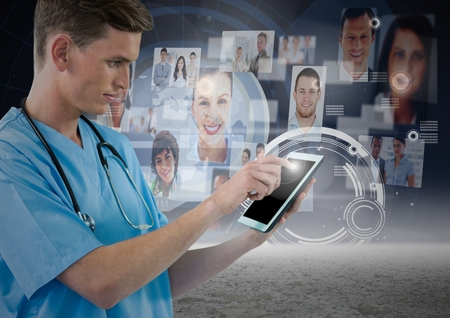 digitally: Close-up of surgeon using digital tablet with digitally generated networking icons Stock Photo