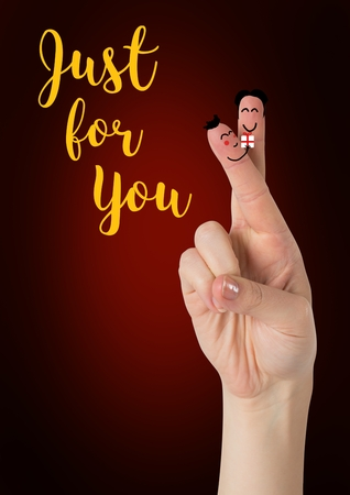 digitally generated image: Digitally generated image of happy finger face couple in love with I love you text