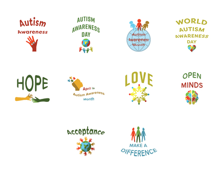developmental disorder: Vector icon set for autism awareness against white background