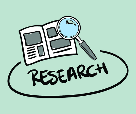 Vector icon of research against blue background