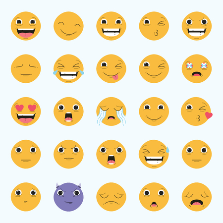 Vector icon set of emoticons against white background Illustration