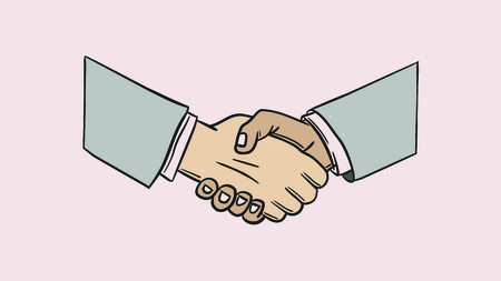 Vector icon of business partnership against pink background