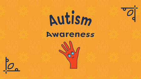 developmental disorder: Vector of greeting card with autism awareness message