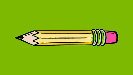 writ: Vector icon of pencil against green background