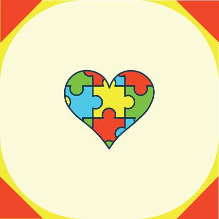 Vector of greeting card with puzzle heart symbol