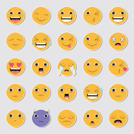 Vector icon set of emoticons against white background Illustration