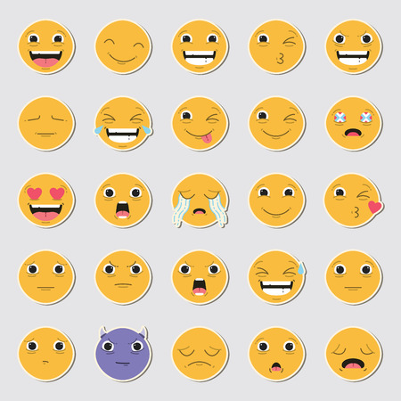 Vector icon set of emoticons against white background Stock Vector - 74642602