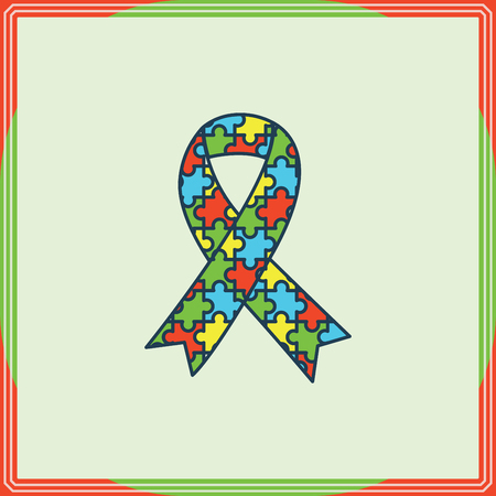 developmental disorder: Vector of greeting card with puzzle ribbon symbol Illustration