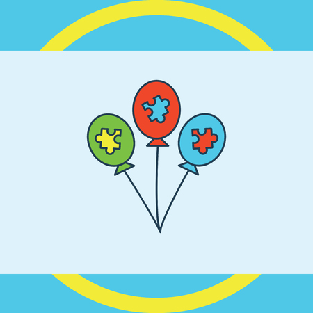 developmental disorder: Vector of greeting card with puzzle balloon symbol
