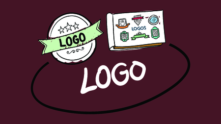 differentiation: Vector icon of logos against red background Illustration