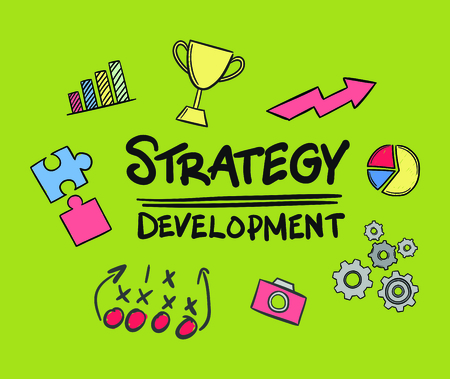 Vector icon of strategy development against green background