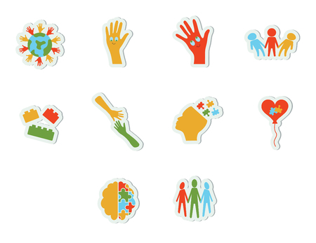 developmental disorder: Vector icon set for awareness against white background
