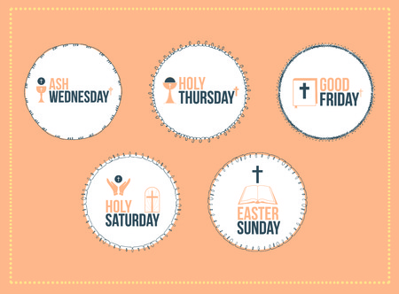 holy thursday: Vector icon set of easter message against orange background Illustration