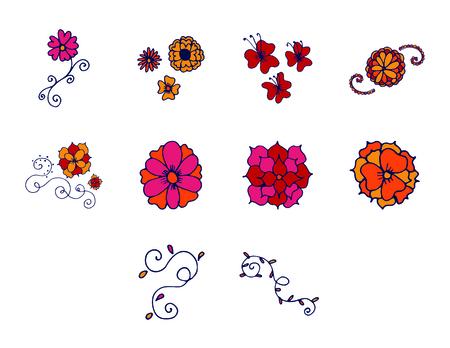Vector icon set of flowers against white background Illustration