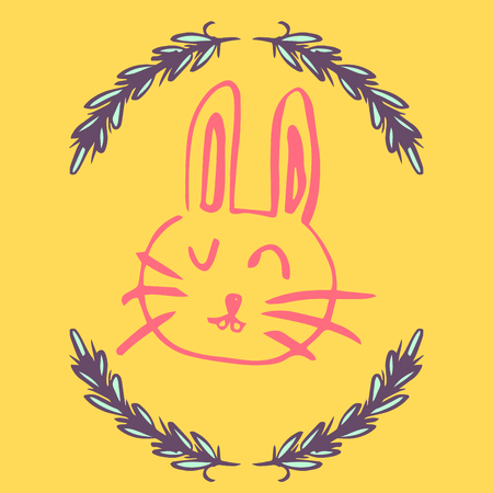 Vector of greeting card with easter bunny drawing