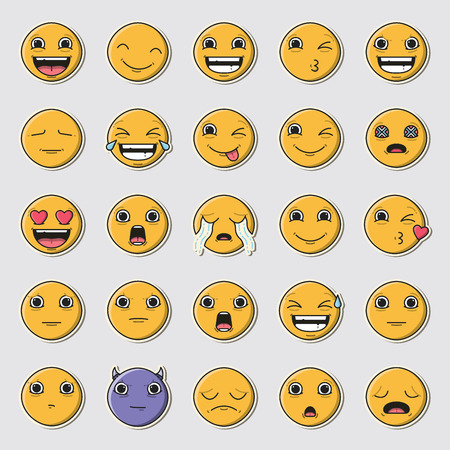 Vector icon set of emoticons against white background Stock Vector - 74642901