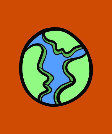 Vector icon of earth against orange background