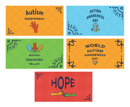 Vector icon set of greeting cards with autism awareness message vector vector icon set of greeting cards with autism awareness message against white background m4hsunfo