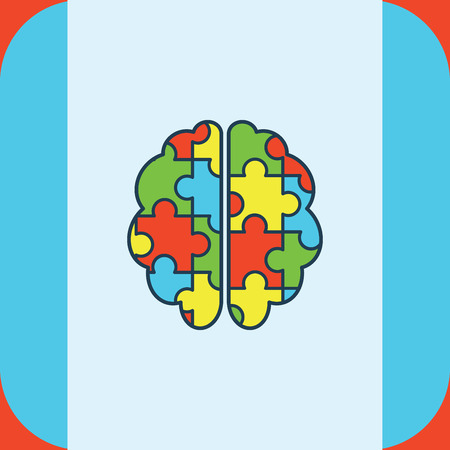 developmental: Vector of greeting card with puzzle brain symbol Illustration