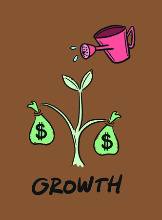 improving: Vector icon of financial growth against brown background