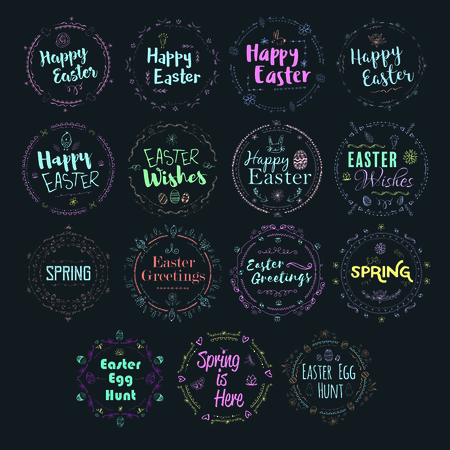 Vector icon set of easter and spring message against blue background