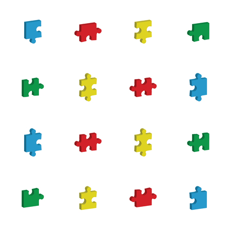 developmental disorder: Vector icon set for jigsaw puzzle against white background